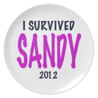I SURVIVED SANDY 2012, charteuse, Sandy survivor Dinner Plate