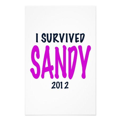I SURVIVED SANDY 2012, charteuse, Sandy survivor Customized Stationery