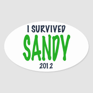 I SURVIVED SANDY 2012, green,Hurricane Sandy gifts Oval Sticker