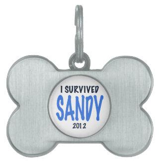 I SURVIVED SANDY 2012,lt. blue, Sandy Survivor gif Pet Name Tag