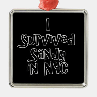 I Survived Sandy in NYC.png Square Metal Christmas Ornament