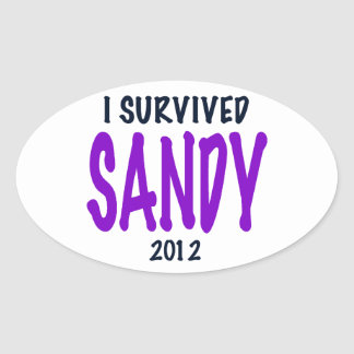 I SURVIVED SANDY, Purple, Sandy Survivor gifts Oval Sticker