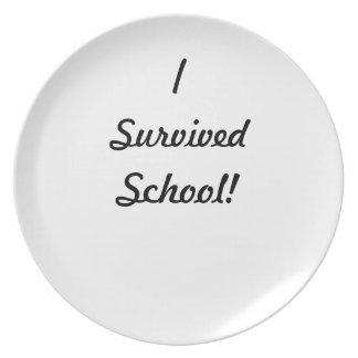 I survived school! dinner plates