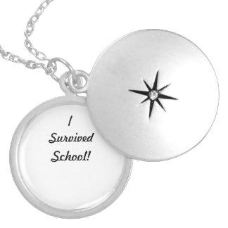 I survived school! round locket necklace