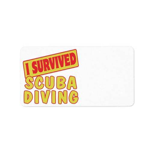 I SURVIVED SCUBA DIVING CUSTOM ADDRESS LABELS