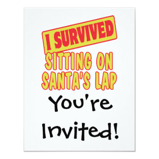 I SURVIVED SITTING ON SANTAS LAP 4.25X5.5 PAPER INVITATION CARD