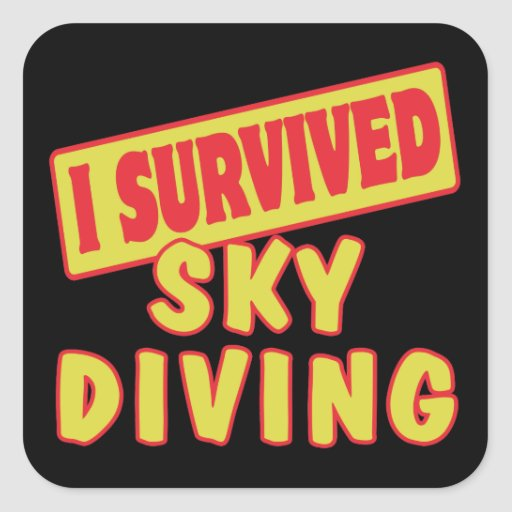 I SURVIVED SKYDIVING SQUARE STICKERS