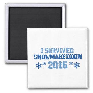 I Survived Snowmageddon 2 Inch Square Magnet