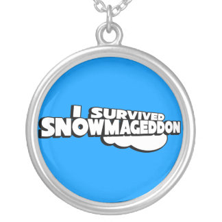 I survived Snowmageddon Round Pendant Necklace