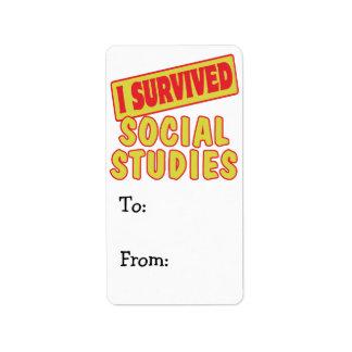 I SURVIVED SOCIAL STUDIES LABEL