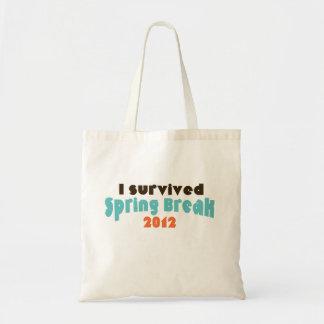 I survived spring break 2012 tote bag