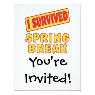 I SURVIVED SPRING BREAK 4.25X5.5 PAPER INVITATION CARD