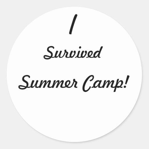 I survived summer camp! classic round sticker