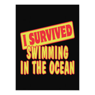 "I SURVIVED SWIMMING IN THE OCEAN 6.5"" X 8.75"" INVITATION CARD"