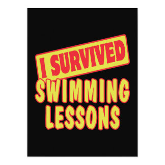 "I SURVIVED SWIMMING LESSONS 6.5"" X 8.75"" INVITATION CARD"