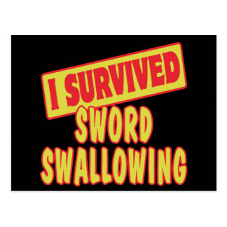 I SURVIVED SWORD SWALLOWING POSTCARD