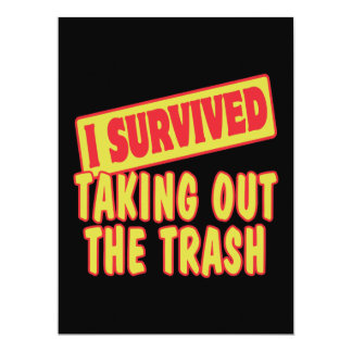 I SURVIVED TAKING OUT THE TRASH PERSONALIZED ANNOUNCEMENT