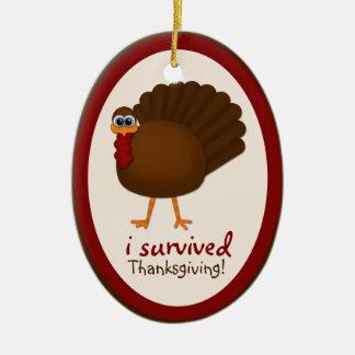 I Survived Thanksgiving! Turkey Christmas Ornament