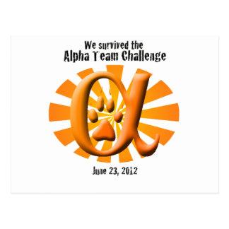 I survived the Alpha Team Challenge Postcard