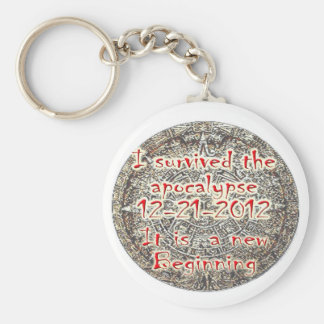 I survived the apocalypse 12-21-2012 basic round button keychain