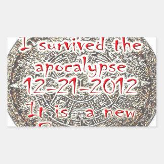 I survived the apocalypse 12-21-2012 rectangular sticker