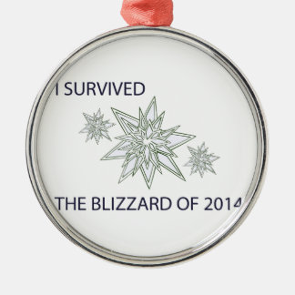 I survived the blizzard of 2014 crystal snowflakes metal ornament