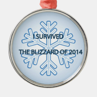 I survived the blizzard of 2014 snowflake metal ornament