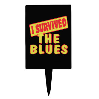 I SURVIVED THE BLUES CAKE TOPPERS