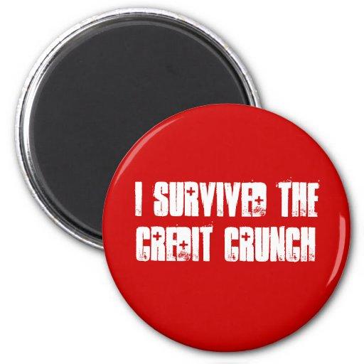 I Survived The Credit Crunch Fridge Magnet