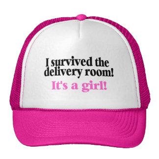 I Survived The Delivery Room Its A Girl Mesh Hat