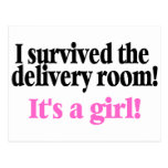 I Survived The Delivery Room Its A Girl Postcard
