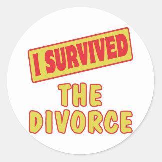 I SURVIVED THE DIVORCE ROUND STICKERS