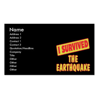 I SURVIVED THE EARTHQUAKE Double-Sided STANDARD BUSINESS CARDS (Pack OF 100)