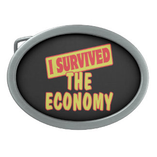 I SURVIVED THE ECONOMY OVAL BELT BUCKLE