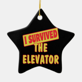 I SURVIVED THE ELEVATOR Double-Sided STAR CERAMIC CHRISTMAS ORNAMENT