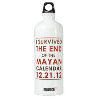 I Survived the end of the Mayan Calendar 12.21.12 Aluminum Water Bottle