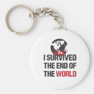 I Survived The End Of The World Basic Round Button Keychain