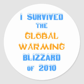 I Survived the Global Warming Blizzard of 2010 Classic Round Sticker
