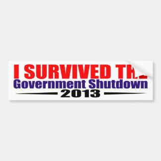 I survived the gornment shutdown 2013 car bumper sticker