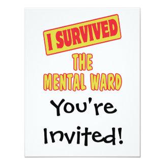 I SURVIVED THE MENTAL WARD 4.25X5.5 PAPER INVITATION CARD