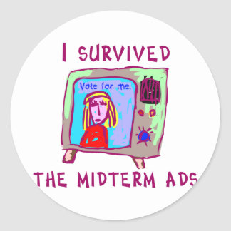 I survived the midterms classic round sticker