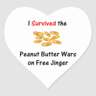 I Survived the Peanut Butter Wars at Free Jinger Heart Sticker