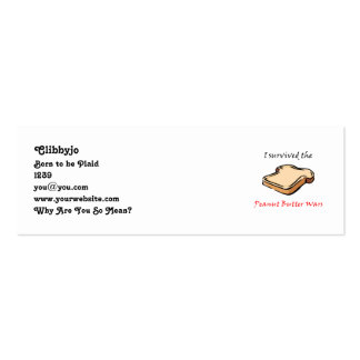 I survived the Peanut Butter Wars Mini Business Card