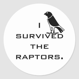 I survived the raptors classic round sticker