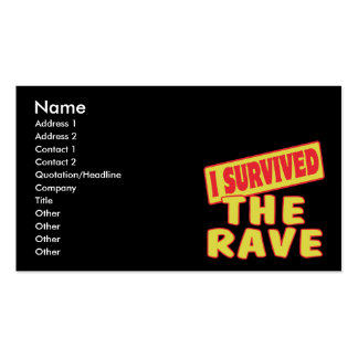 I SURVIVED THE RAVE Double-Sided STANDARD BUSINESS CARDS (Pack OF 100)