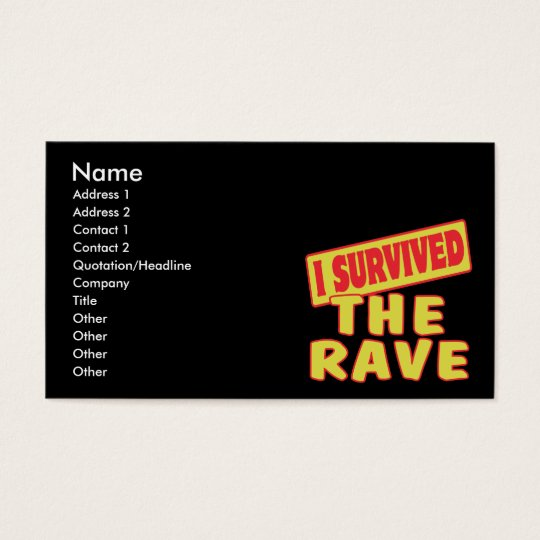 I SURVIVED THE RAVE BUSINESS CARD