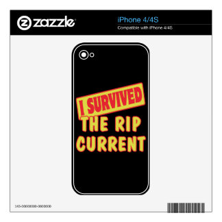 I SURVIVED THE RIP CURRENT iPhone 4 SKINS