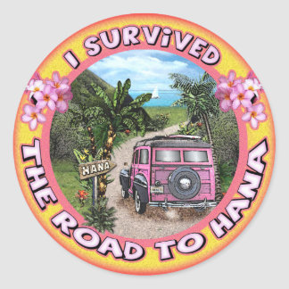 I survived the Road to Hana Classic Round Sticker