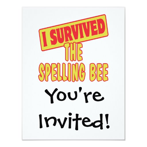 I SURVIVED THE SPELLING BEE 4.25X5.5 PAPER INVITATION CARD