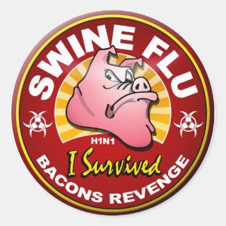 I Survived The Swine Flu - H1N1 Round Sticker